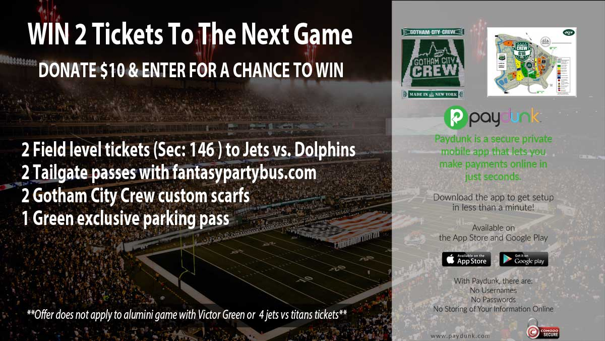 WIN 2 Jets v Dolphins tix, feat. halftime Ring of Honor & Alumni presentation.